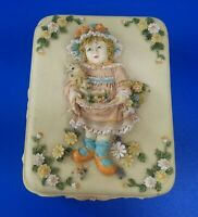 Vintage Wood / Ceramic Jewelry Trinket Box with Girl/Kitten/Flowers