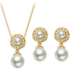 Bridal Jewellery Set White Pearl & Gold Drop Circle Earrings & Necklace S614