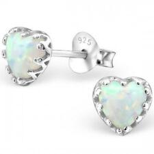 925 Sterling Silver and Opal White Milk Heart Stud Earrings Quality UK Jewellery