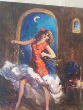PECHAUBES Gena (1923)- TABLEAU-huile-spectacle-Danseuse Flamenco- Cabaret-OIL