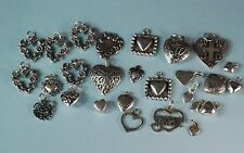 STERLING SILVER ASSORTED HEART CHARMS  LOT 27 PIECES
