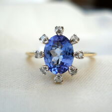 1.50ct Tanzanite & Diamond Yellow Gold Engagement Ring