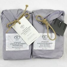 Restoration Hardware Vintage Washed 464 Percale King Pillow Shams Set X2 Thistle