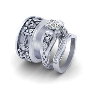 Diamond Skull Engagement Ring Anchor Wedding Band Matching Skull Couple Ring Set