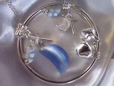 """Argent Sterling * Chaîne 16""""/Chaîne Bleu Moonstone/925 Bracelet // Teddy/Croix/dans un box."""