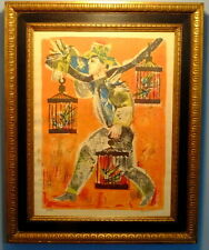 MCM Signed Ltd. Ed. Lithograph of a Tropical Bird Vendor by Languot