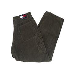 Vintage Tommy Hilfiger Corduroy Carpenter Jeans Cargo Pant Mens 38 Olive BoxLogo