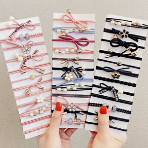 Women Korean Rubber Band Hair Tie 5/8 Pcs Flower Pearls Bow Elastic Hair Bands