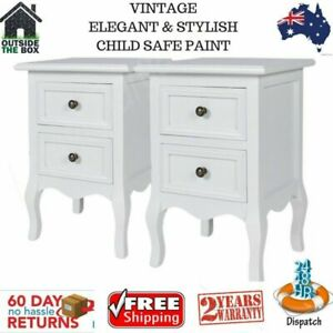 Bedside Tables Cabinet 2 X White 2 Drawer Lamp Stand Side Table Bedroom Unit New