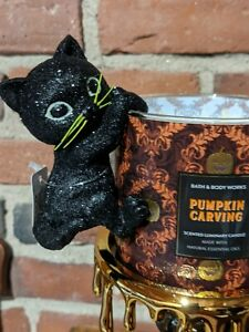 Bath Body Works New 2021 Black Glitter Kitty 3 Wick Candle Hanger Plus Glows