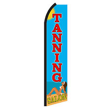 Tanning Salon Beach Advertising Flutter Feather Sign Swooper Banner Flag Only