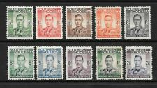 1937 King George VI SG40 to SG51 Set of 10 stamps Mint Hinged SOUTHERN RHODESIA