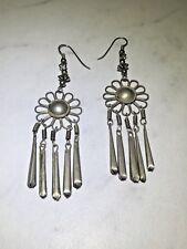 Flower Drop Earrings Vintage Sterling Silver