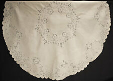 "VICTORIAN EMBROIDERED LINEN TABLECLOTH 60"" ROUND RAISED FLORAL WHITEWORK"