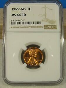 1966 SMS Lincoln cent NGC graded MS 66 RD