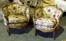 Pair of Gorgeous Antique Gilded  French Louis XVI Bergere chairs