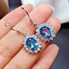 4.20Ct Oval Attractive Cut Blue Topaz Drop/Dangle Earrings 14K White Gold Finish