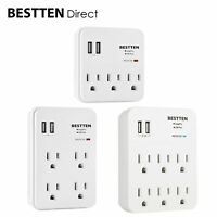 BESTTEN Multi Outlet Wall Adapter Surge Protector w/ 2 USB Charging Ports ETL