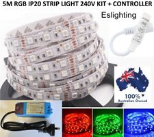 5M RGB 240V DIMMABLE IP20 LED STRIP LIGHT WITH DIMMER CONTROLLER FLEXIBLE COLOUR