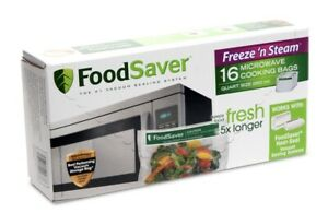 FoodSaver Freeze 'n Steam 16 Microwave Bags Quart Size *New In Box*