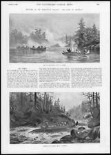 1894 Antique Print  - AMERICA Burlington Gallery Verner Canoes Indians   (217)