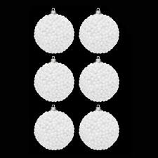 6 Pack 60mm White Snowballs Baubles Christmas Tree Decoration