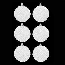 Paquet De 6 60mm Blanc Boules De Neige Boules Décoration Sapin De Noël
