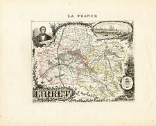 1869 Hand Colored Map of the Loiret Department in France by Vuillemin