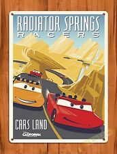 """TIN-UPS Walt Disney """" Radiator Springs Racers"""" Cars Mickey Ride Poster Tin Sign"""