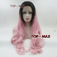 Wavy Long Black Mixed Pink 24 Inches  Heat Resistant Lace Front Wigs Halloween