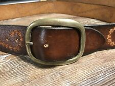 vintage hand tooled leather belt size 36 men's soild brass buckle