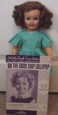 "Vintage Shirley Temple 19"" Ideal Doll ST-19 with Good Ship Lollipop Sheet Music"