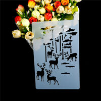 1pc forest deer Shape Cake Stencils Environmental Plastic Spray Cake Mould _CA