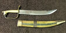 "VINTAGE 11 1/2"" INDIA TALWAR SHAMSHIR BRASS HANDLE SWORD WITH DECORATED BLADE"
