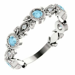 1Ct Round Cut Aquamarines & Diamonds Leaf Style Ring Band 14K White Gold Finish