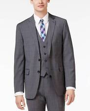 $604 CALVIN KLEIN Mens Slim Fit Wool Sport Coat Gray Plaid JACKET BLAZER 42R
