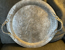 Vintage Round Hammered Aluminum Serving Tray Tulips Lacy Floral Handles Mcm