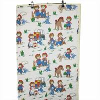 Vintage Raggedy Ann & Andy Baby Quilt Crib Blanket White Cowboy Western Horse