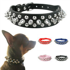 PU Leather Small Medium Dog Collar Adjustable Studded Rivet Neck Strap Anti-bite