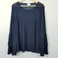 [ WITCHERY ] Womens Navy Ruffle Blouse Top | Size L or AU 14 / US 10
