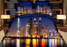 6 tlg.3D Effekt Bettwäsche Bettbezug Bettgarnitur 200x220 cm New York bei Nacht