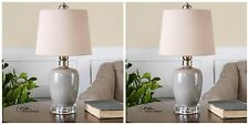 PAIR GRAY CRACKLE CERAMIC TABLE LAMPS BRUSHED CRYSTAL FOOT LINEN SHADE LIGHT
