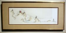 Vintage limited ed. engraving coast mountain sailing minimalist signed framed