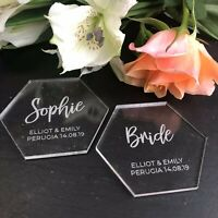 Hexagon Table Place Name, Acrylic, Personalised Name Setting, Clear Perspex
