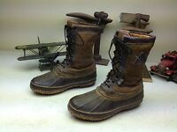 BROWN ROCKY USA DISTRESSED LACE UP WORK CHORE LEATHER ENGINEER DUCK BOOTS 9 W
