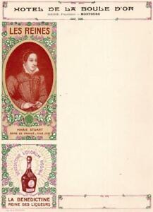 ORIGINAL BLANK MENU (WITH ADS) FOR HOTEL DE LA BOULE D'OR FRANCE  1890s