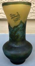 "Vintage Petrache Hand Made Romania Art Glass Vase 7"" Mountains & Trees Scene"