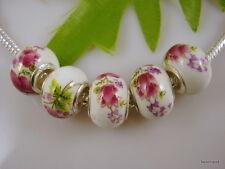 30pcs Flower Ceramics Beads Charm Fits European Bracelet T04