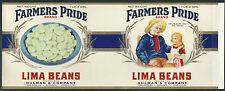 Vintage 1930's Farmers Pride Lima Bean Label Terre Haute, IN