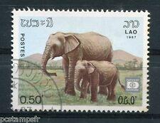 LAOS, 1987, timbre 791, ELEPHANT, ANIMAUX SAUVAGES, oblitéré